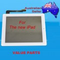 iPad 3 touch screen with home button assembly and adhesive tape attached [White]